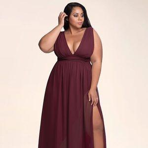 Azazie Dancing Queen Cabernet Maxi Dress, size 1X